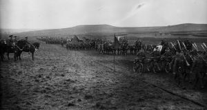 October 1915: King George V inspecting the Irish Division. Photograph:  Topical Press Agency/Getty Images