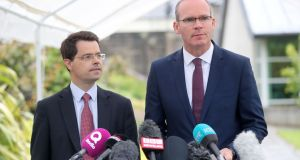 Northern Ireland Secretary James Brokenshire (left) and Minister for Foreign Affairs Simon Coveney speak to reporters at Stormont. Photograph: PA
