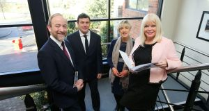 Pictured with Minister of State for Higher Education Mary Mitchell-O'Connor are, from left, Thomas Hunter McGowan, CEO InterTradeIreland, Aidan Gough, director of strategy and policy, InterTradeIreland; and Margaret Hearty, director of operations, InterTradeIreland