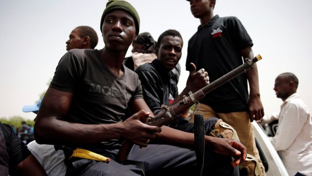 Members of a local militia known as CJTF in the back of a truck during a patrol in the city of Maiduguri, northern Nigeria, June 9th, 2017. File photograph: Akintunde Akinleye/Reuters