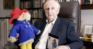 Paddington Bear and his creator Michael Bond whose most recent   story, 'Paddington's Finest Hour', was published in April.  Photograph: Edmond Terakopian/PA Wire