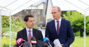 James Brokenshire, Northern Secretary,    and Simon Coveney, Minister for Foreign Affairs, admitted  the game was up shortly before lunchtime on Thursday  outside Stormont Castle. Photograph: EPA