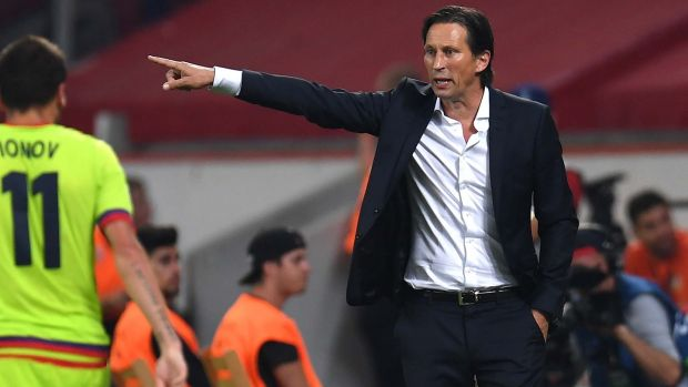 Former Bayer Leverkusen coach Roger Schmidt has taken over at Beijing Sinobo Guoan in the Chinese Super League. Photograph: Patrik Stollarz/AFP/Getty Images
