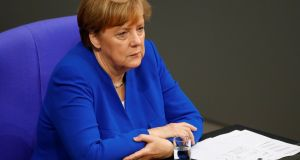 German Chancellor Angela Merkel attends a session of the lower house of parliament Bundestag . Photograph: Fabrizio Bensch
