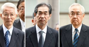 A combination picture shows (L-R) former Tokyo Electric Power Co chairman Tsunehisa Katsumata and vice presidents Ichiro Takekuro and Sakae Muto. Photograph: Kyodo/via REUTERS.