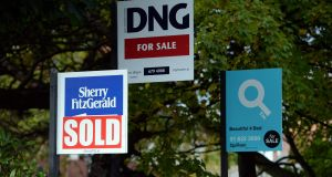 For sale signs at Park Avenue Sandymount. Photograph: Cyril Byrne/The Irish Times