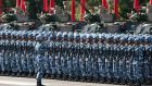 People's Liberation Army (PLA) troops stand in formation  at the Shek Kong Barracks in Hong Kong on Friday. Photograph: Anthony Kwan/Bloomberg