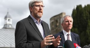 Sinn Fein's John O'Dowd (left) and Mairtin O Muilleoir talk to the media following talks aimed at restoring powersharing in Northern Ireland. Photograph: Brian Lawless/PA Wire