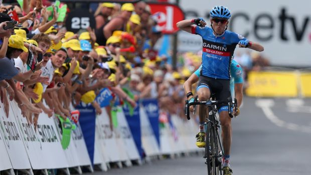 Dan Martin celebrates winning the ninth stage of the 2013 Tour de France in 2013. Photo: Bryn Lennon/Getty Images