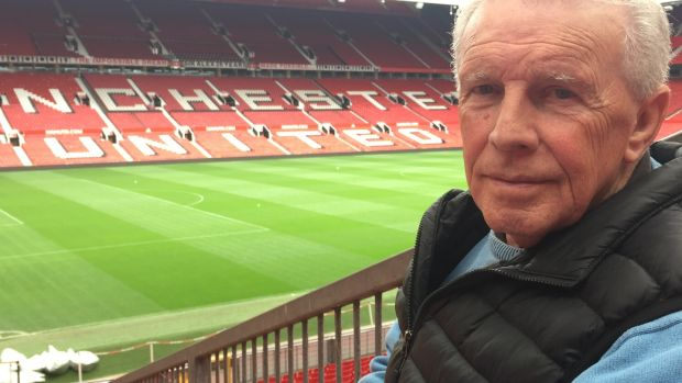 John Giles at his old Manchester United stomping ground. Photograph: RTE