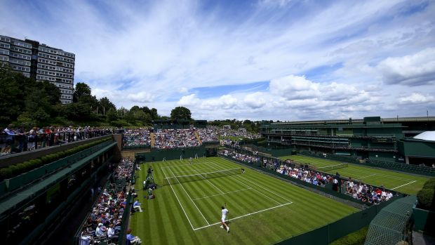 A general view of play on Court 18 during day one of the Wimbledon in 2016. Photograph: Jordan Mansfield/Getty Images