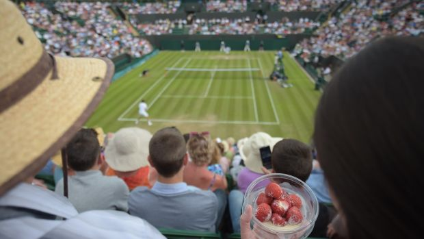 Some 27,887kg of Kent strawberries will be munched at Wimbledon. Photograph: Carl Court/AFP/Getty Images