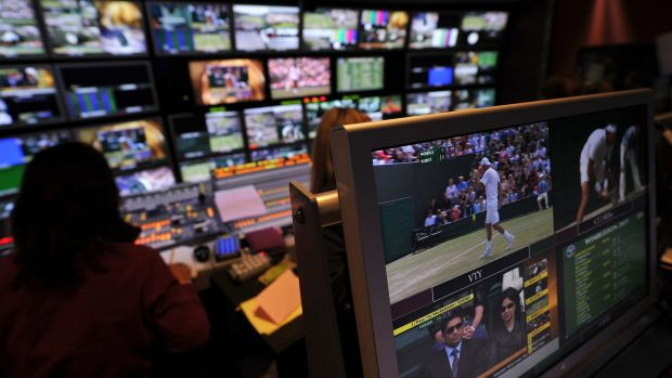 The BBC television edit suite showing all the tennis courts in play. Photograph: Carl De Souza/AFP/Getty Images