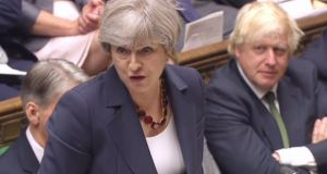 British prime minister Theresa May on Wednesday faces her first parliamentary challenge since a disastrous election, in a vote on whether to maintain unpopular austerity measures. Photograph: AFP/Getty Images