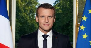 "Emmanuel Macron's official portrait. ""He seems to be saying, 'Over my dead body,'"" observes a former cabinet minister. Photograph: Soazig de la Moissonniere"