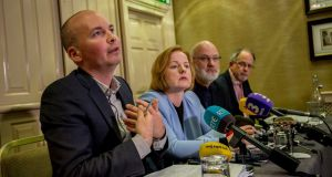Solidarity TDs Paul Murphy and Ruth Coppinger, Cllr Michael Murphy and TD Mick Barry at a press conference in Dublin on Friday. Photograph: Brenda Fitzsimons