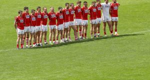 Rebels with a cause. Cork line up for the Munster semi-final against Tipperary.  Photograph: Ryan Byrne/Inpho
