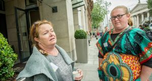 Catherine Coffey O'Brien and Terri Newman, both from Mayfield Cork, at the Mother and Baby Homes commisission of investigation conference. Photograph: Brenda Fitzsimons