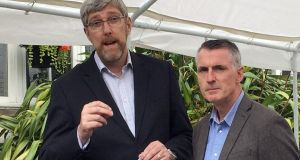 Sinn Féin's John O'Dowd (l) and Declan Kearney speak to the media at Stormont Castle, Belfast. Photograph: David Young/PA Wire