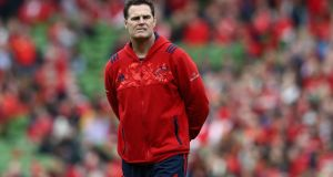 Munster head coach  Rassie Erasmus will leave the province in January to take up the of position rugby director  with the Springboks. Photograph:   David Rogers/Getty Images