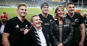 Brothers Jordie, Scott and Beauden Barrett of New Zealand pose for a photo with their parents Kevin and Robyn Barrett after they all featured against Samoa last month. Photo: Andrew Cornaga/Inpho