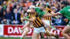 Kilkenny's Pádraig Walsh under pressure from David Dempsey of Limerick during the All-Ireland Round One hurling qualifier at Nowlan Park. Photograph: Cathal Noonan/Inpho