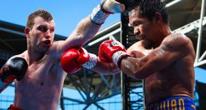 Manny Pacquiao was beaten by unheralded Australian Jeff Horn in Brisbane. Photograph: Patrick Hamilton/AFP
