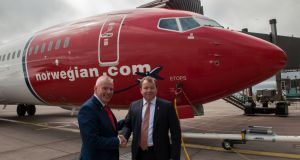 Cork Airport managing director Niall MacCarthy and Norwegian Air International  chief executive Tore Jansen ahead of the first  scheduled transatlantic flight from the airport. Photograph: Brian Lougheed