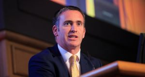 "Minister of State for Housing Damien English: ""We'll be about a month late in reaching our target. But the target will be met."" Photograph: Gareth Chaney/Collins"