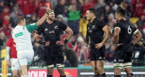 All Blacks' Sonny Bill Williams is shown a red card by referee Jerome Garces during the second Test against the British & Irish Lions. Photo: Dan Sheridan/Inpho
