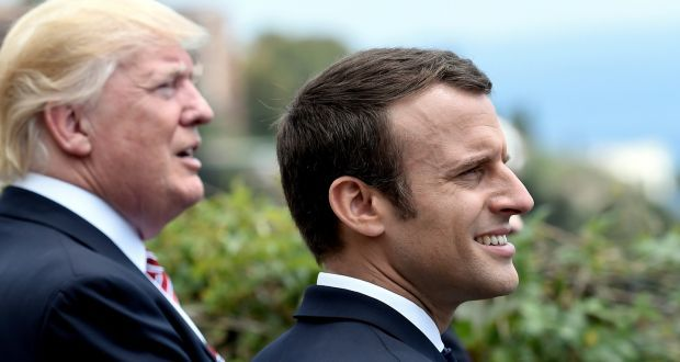 US president Donald Trump and French president Emmanuel Macron watch an flying squadron during the G7 Summit in Sicily at the end of May. Photograph: Stephane De Sakutin/Reuters