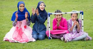 Rabeya Basri, Laila Begum, Josna Akter and Asma Bibi, all from Carlow, at the Sports Against Racism Ireland Fair Play football cup. Photograph: Kenneth O Halloran