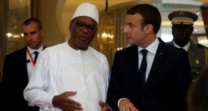 Mali's president Ibrahim Boubacar Keita talks with French president Emmanuel Macron in Bamako, Mali. Photograph: Luc Gnago/Reuters
