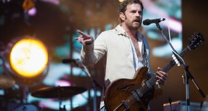 Caleb Followill of Kings of Leon performing at  Burton Constable Hall, in Hull, Uk in May 2017. Photograph:  Jo Hale/Redferns