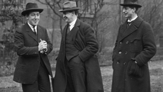 Dev the uptight neurotic (right) and Collins (centre) the mischievous funster, with Harry Boland, 1919
