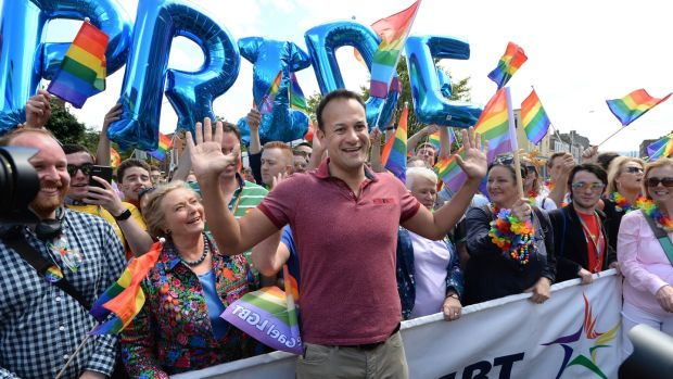 An Taoiseach Leo Varadkar TD and Tanaiste Frances Fitzgerald TD at the Dublin Pride Parade. Photograph: Dara Mac Dónaill, The Irish Times