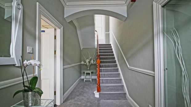 The hall and stairs at No 2 Abbey Street, Howth.