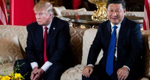 "US president Donald Trump meeting President Xi Jinping of China in April 2017:  Mr Trump has tweeted that his bid to secure a more robust approach by China to North Korea had ""not worked out"". Photograph: Doug Mills/New York Times"