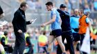 Dublin's Diarmuid Connolly with manager Jim Gavin after being sent off in the quarter-final against Donegal. Photograph: Ryan Byrne/Inpho