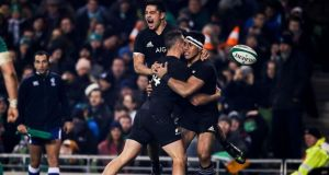 New Zealand's Malakai Fekitoa celebrates  with Anton Lienert-Brown and Israel Dagg after scoring a  try against Ireland at the Aviva Stadium to avenge their Chicago loss two weeks earlier. Photograph: Tommy Dickson/Inpho