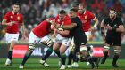 Lions forward Tadhg Furlong  is tackled by the All Blacks' Jerome Kaino  during the second Test match.  Photograph: Hannah Peters/Getty Images