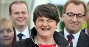 DUP leader Arlene Foster whose party has been criticised over a £425,000 donation received during the Brexit campaign. Photograph: Paul Faith/AFP/Getty Images.