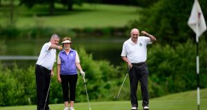 Margaret Maher,Geoffrey Woodhead and Pat McNeill from Donabate Golf Club. Photograph: Arthur Allison