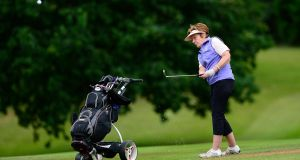 Pictured in action on the 18th fairway is Margaret Maher from Donabate Golf Club. Photograph: Arthur Allison.