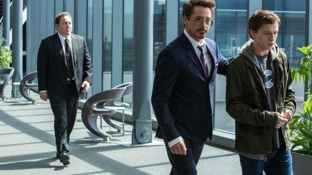 Jon Favreau, Robert Downey Jr and Tom Holland in Spider-Man: Homecoming