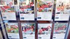 A window in a real estate agents shows properties whch are all sold. Photograph: Peter Parks/AFP/Getty Images