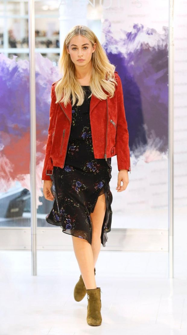 no fee if Arnotts mentioned in caption at the Arnotts Autumn Winter 2017 Womenswear Show-photo Kieran HarnettThalia Rust suede jacket, Selected Femme, €199.99Black floral print dress, Millie Mackintosh, €145Boots by Jonak