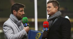 BT Sport presenter Craig Doyle  and pundit Brian O'Driscoll.  Photograph: Michael Steele/Getty Images