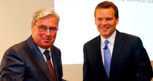 Clariant chief executive Hariolf Kottmann and Huntsman chief executive Peter Huntsman. Photograph: Arnd Wiegmann/Reuters
