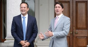 Justin Trudeau, prime minister of Canada, is welcomed by Taoiseach Leo Varadkar at Farmleigh House. Photograph: Dara Mac Dónaill